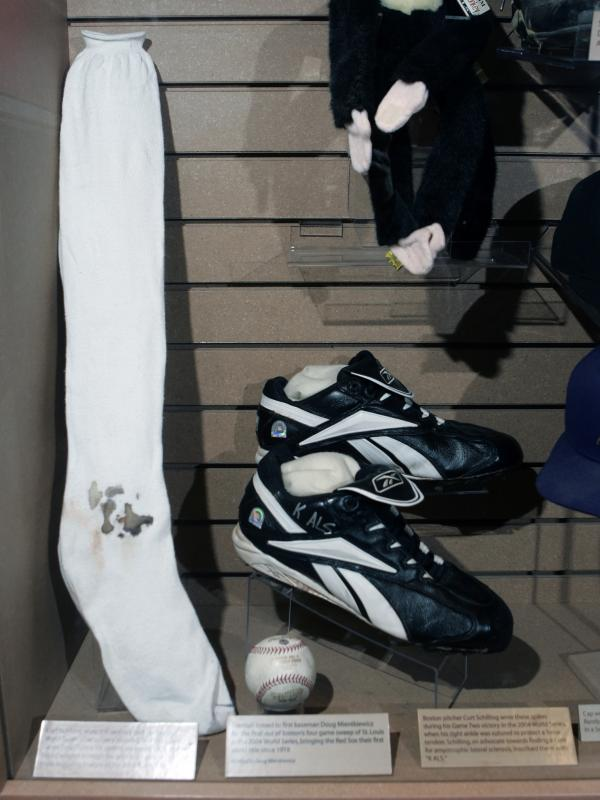 Boston Red Sox pitcher Curt Schilling's bloody sock and spikes are displayed at the National Baseball Hall of Fame. Schilling, whose video game company went bankrupt, is selling the bloodstained sock he wore during baseball's 2004 World Series.