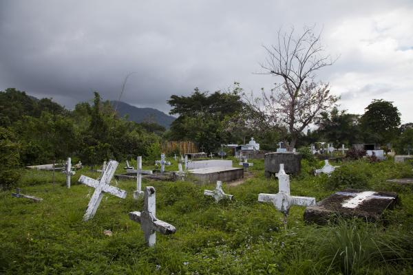 A view of a cemetery in Sambo Creek. Before medicines were made widely available in the early 2000s, scores of people in the Garifuna community died from AIDS. According to local NGOs, the death rate has dropped dramatically.