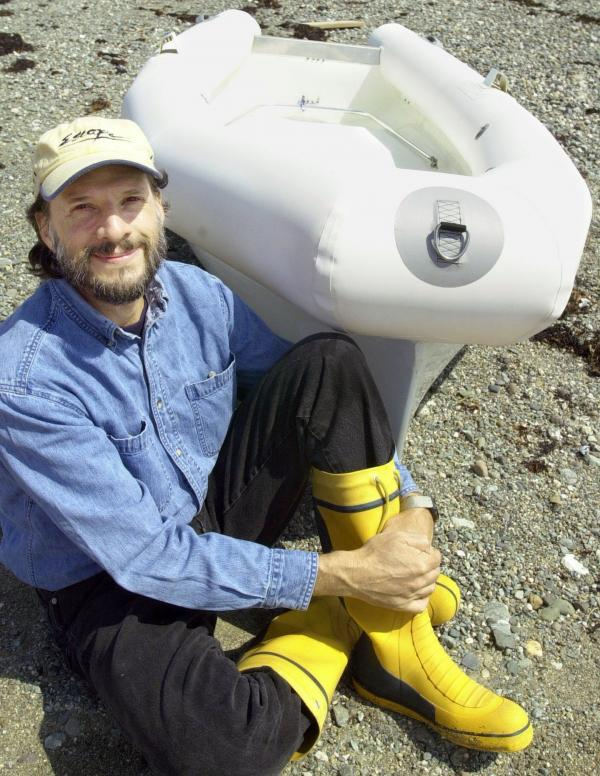 Steven Callahan survived for 76 days adrift in an inflatable life raft. This 2002 photo shows Callahan with an improved life raft he designed after his ordeal. While enduring shark attacks, rain and helpless drifting, Callahan dreamed of a better survival vessel. Once he returned to land, he spent almost two decades designing this one, featuring a rigid exterior, a removable canopy and a sail.