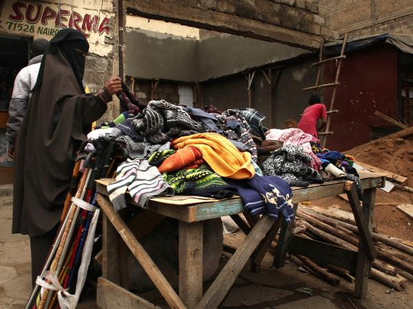 A woman shops in an Eastleigh market in 2009.