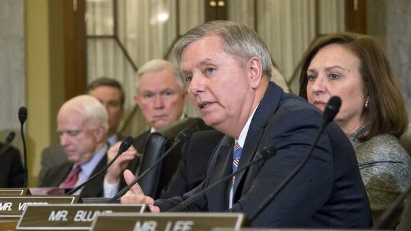 Sen. Lindsey Graham of South Carolina voices his opposition to President Obama's choice of former Sen. Chuck Hagel of Nebraska as secretary of defense, on Capitol Hill last week.
