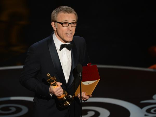 Christoph Waltz accepts the Oscar for best supporting actor in <em>Django Unchained.</em>