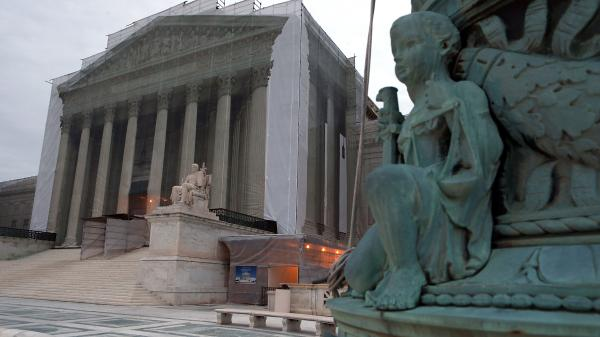 The Supreme Court denied the petition of businessmen who say the 2010 <em>Citizens United</em> ruling makes it legal for corporations to contribute directly to candidates. The court building is seen here during renovations in December.