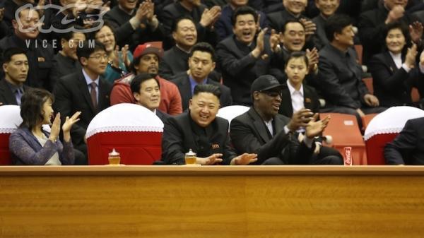North Korean Leader Kim Jong Un, seated next to former NBA star Dennis Rodman (in black cap), at a basketball game Thursday in Pyongyang.