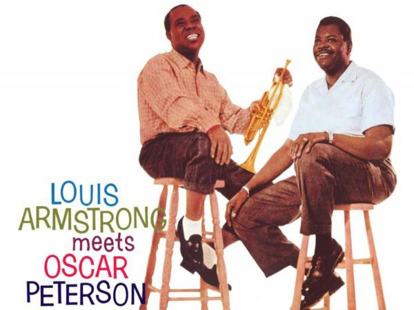 Detail from the cover art to <em>Louis Armstrong Meets Oscar Peterson.</em>