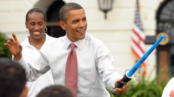 That's a light saber, sir, not a phaser. (President Obama in September 2009, during a White House event promoting Chicago's bid for the 2016 Summer Olympics.)