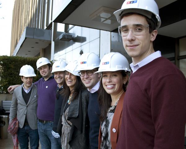 Generation Listen members gear up to tour the new NPR HQ.