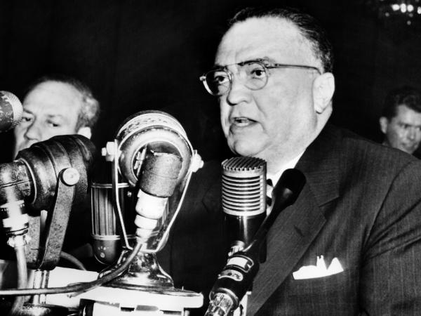 John Edgar Hoover, Director of the Federal Bureau of Investigation gives a speech on November 17, 1953, in Washington.