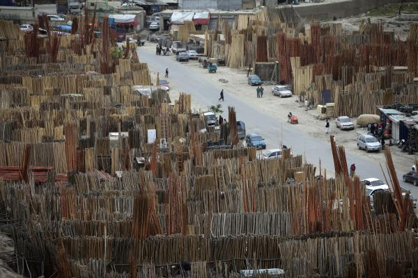 Lumber shops line a street in Kabul, Afghanistan, on May 5, 2012.