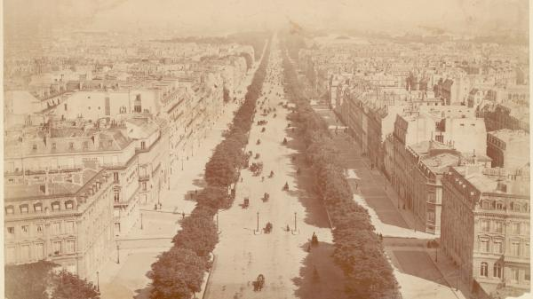 A view down the Champs Elysees, from the top of the Arc de Triomphe, circa 1860.