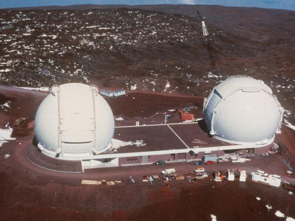 The 10-meter Keck II (right), a twin of the world's largest optical telescope, was used to study the atmosphere of HR 8799c.