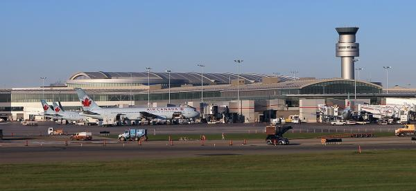 A van that had been left running and in gear crossed an active runway at Toronto's Pearson International Airport, seen here in a 2012 photo. The incident, which occurred late Monday, is under investigation.
