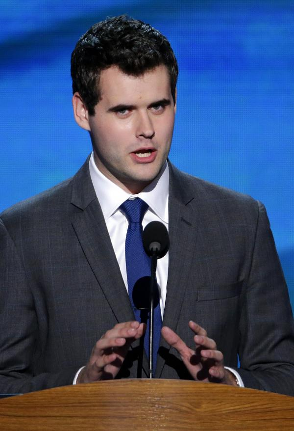 "Zach Wahls addresses the Democratic National Convention in Charlotte, N.C., on Sept. 6. A YouTube video of Wahls testifying in the Iowa Legislature went viral in 2011. He told lawmakers ""the sexual orientation of my parents has had zero effect on the content of my character."""