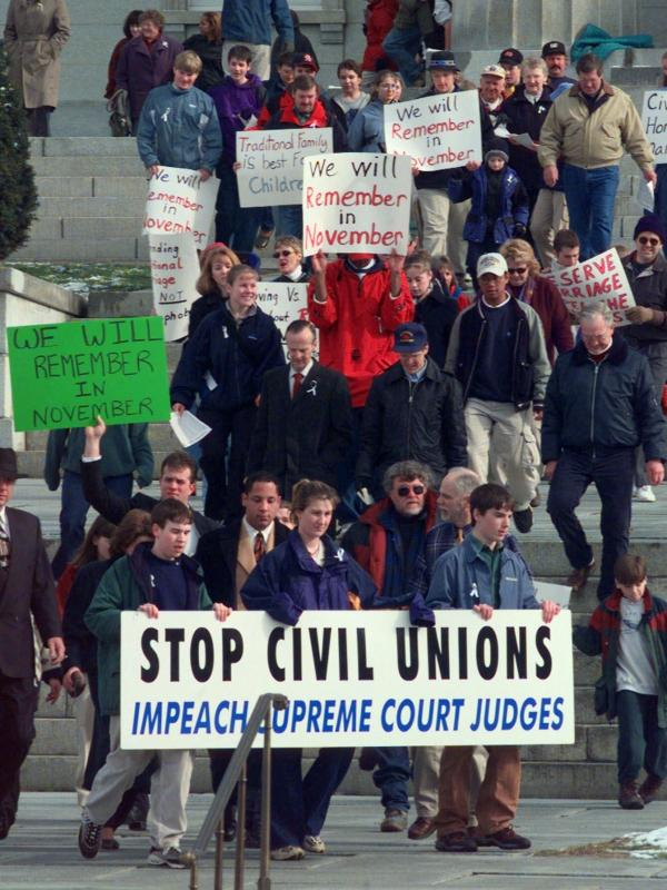 Demonstrators protest outside the Statehouse in Montpelier, Vt., in April 2000, the month the nation's first law recognizing same-sex civil unions was signed by the governor.