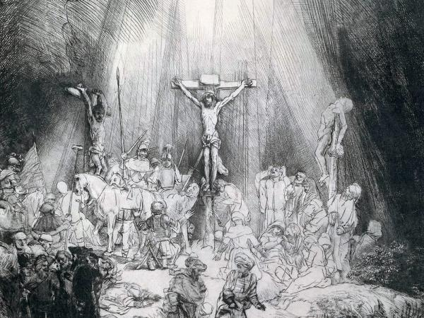 This 1653 engraving by Rembrandt inspired composer Frank Martin to write his oratorio <em>Golgotha </em>in 1945.