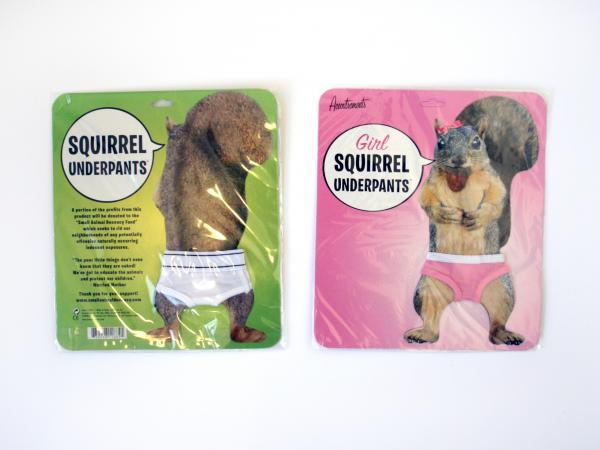 "<strong>KRCC Squirrel Underpants:</strong> During their spring 2009 pledge drive, Colorado's KRCC thanked supporters with itty bitty squirrel underwear for ""boys."" Listeners went nuts for these tiny tighty-whities. They were so popular, in fact, that the girls line was made available in later drives."