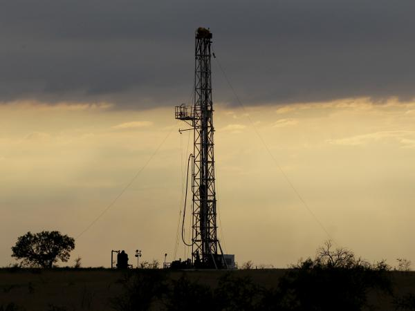 A drilling rig near Kennedy, Texas.