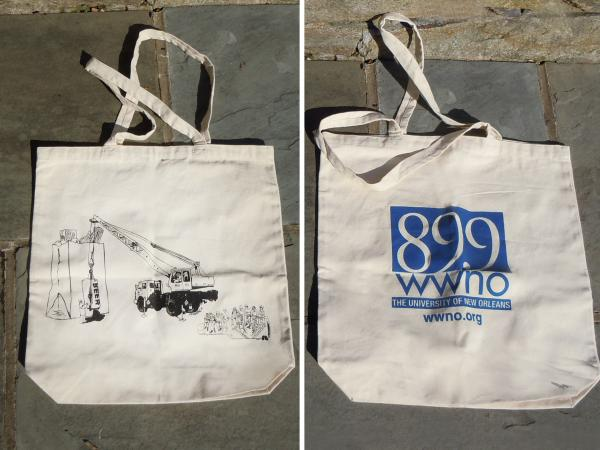 "<strong>WWNO ""Makin' Groceries"" Tote Bag:</strong> In 2007, Member Station WWNO helped listeners show off their city pride by placing the popular New Orleans saying, ""Makin' Groceries,"" on a tote bag. The NOLA jargon for food shopping was displayed with a literal interpretation of the phrase, created by local design artist, Blake Haney."