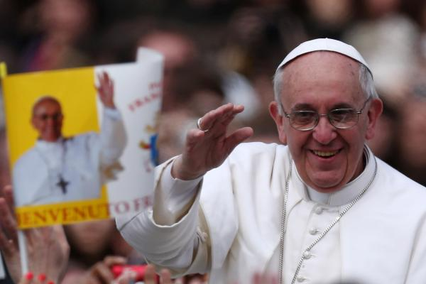 Pope Francis greets the faithful on March 31, 2013 in Vatican City.