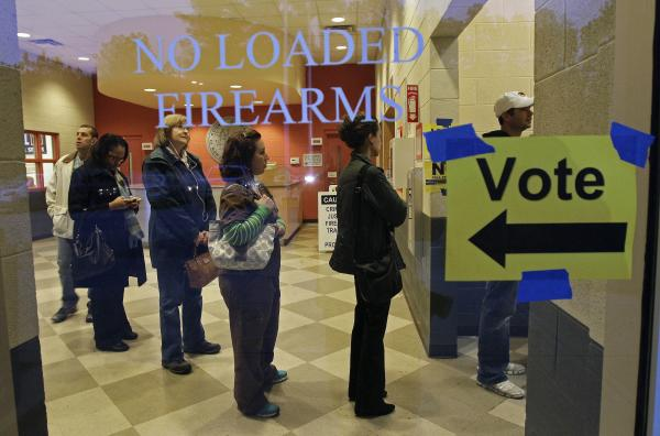 People stood in line to vote on Election Day 2012 at the Wake County Firearms Education and Training Center in Apex, N.C.
