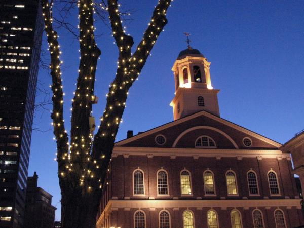 Faneuil Hall, in downtown Boston, was built in the 1740s.