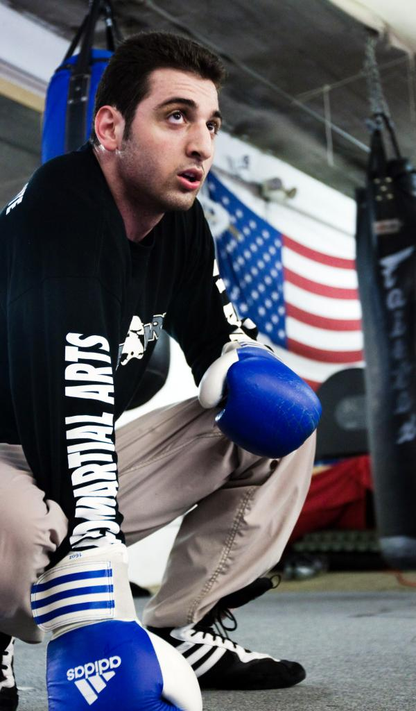 The person believed to be Tamerlan Tsarnaev practices boxing at the Wai Kru Mixed Martial Arts center in April 2009 in Boston.