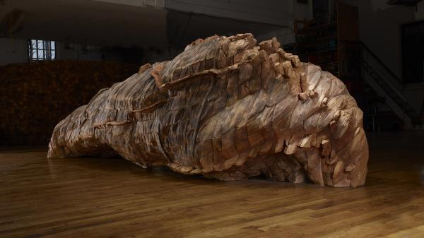 "<em>Ocean Voices</em>, 2012. Cedar, graphite. 53"" x 185"" x 67""."