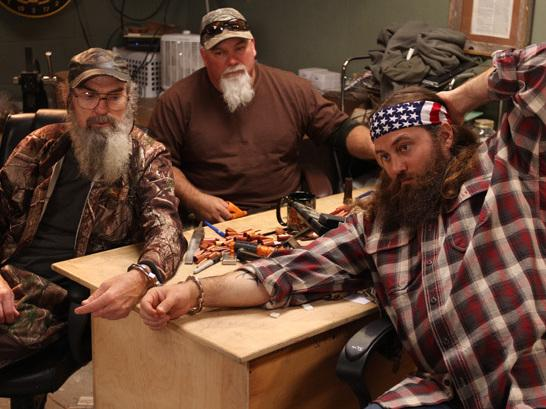 Some of the cast members of the reality show <em>Duck Dynasty</em> find themselves handcuffed to one another.