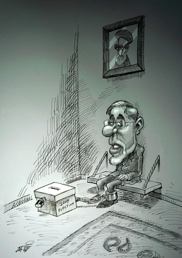 """House Arrest"" by Nikahang Kowsar: Mir Hossein Mousavi, a presidential candidate in the disputed 2009 presidential election, and his wife have been under house arrest with no charge brought against them, since early 2011."