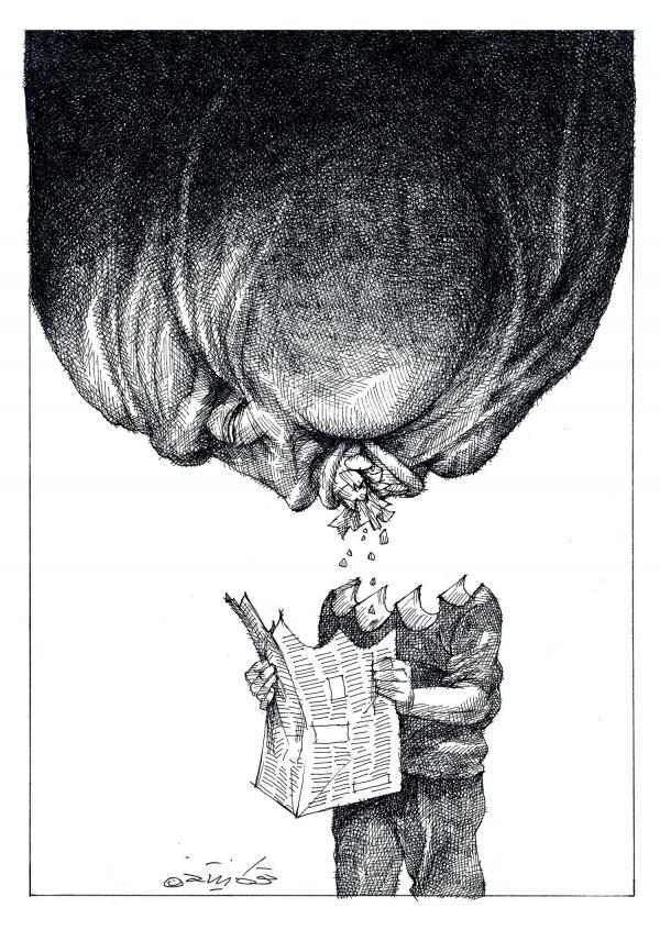 "This Touka Neyestani cartoon, ""Media and Power,"" appears in <em>Sketches of Iran </em>alongside an essay by Iranian journalist Nooshabeh Amiri. Amiri writes about the perils of reporting under Ayatollah Khomeini in the late '70s."