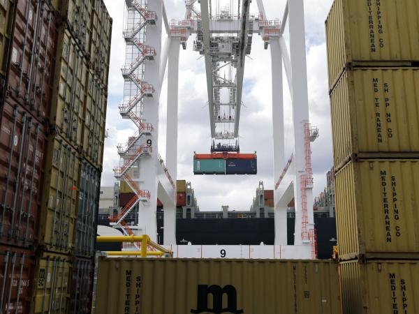 A crane removes a container from a ship at the Port of Baltimore's Seagirt Marine Terminal on March 1.