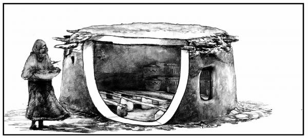 "Prehistoric ""pantries"": This illustration is based on archaeological findings in Jordan of structures built to store extra grain some 11,000-12,000 years ago."