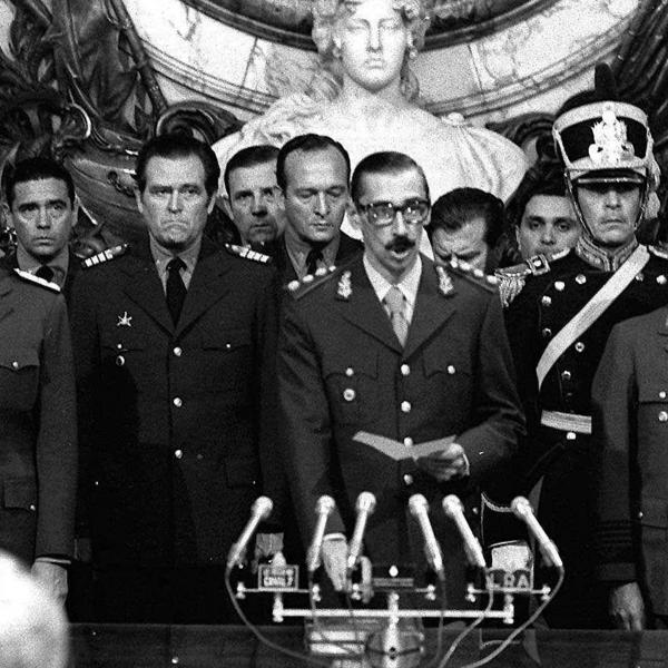 Gen. Jorge Rafael Videla (center) is sworn in as president in Buenos Aires after seizing power in 1976.