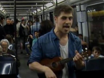 Enzo Vizcaíno, a 24-year-old unemployed Spaniard, isn't singing for his supper. He just wants a job.