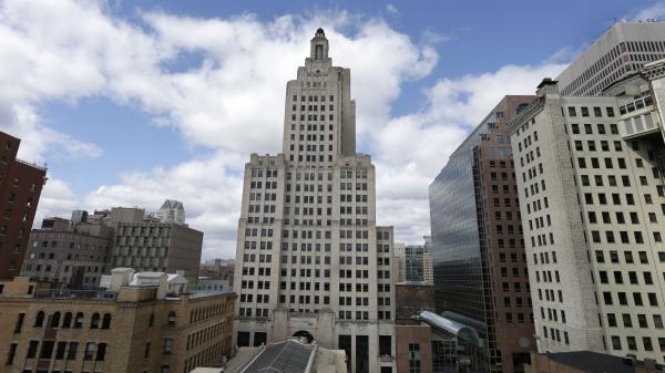 "The iconic Industrial Trust Tower, knows as the ""Superman building,"" stands in downtown Providence, R.I. The art deco-style skyscraper, the tallest in the state, lost its last tenant when the bank's lease expired in April."