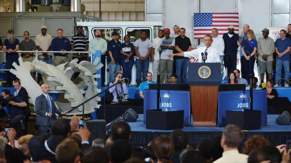President Obama speaks at Ellicott Dredges in Baltimore on May 17. The trip followed a visit by the company's president to Capitol Hill to testify in support of the Keystone XL pipeline. The White House says Obama's speech had nothing to do with Keystone, but environmental groups have been frustrated with his stance on the issue.