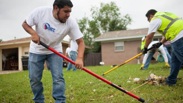 Mynor Sanchez, a resident of Moore, Okla., lives a few blocks away and three houses down from major destruction. He is volunteering Friday in the neighborhood with his church, Templo El Alabanza, trying to do any tasks with which residents need help.