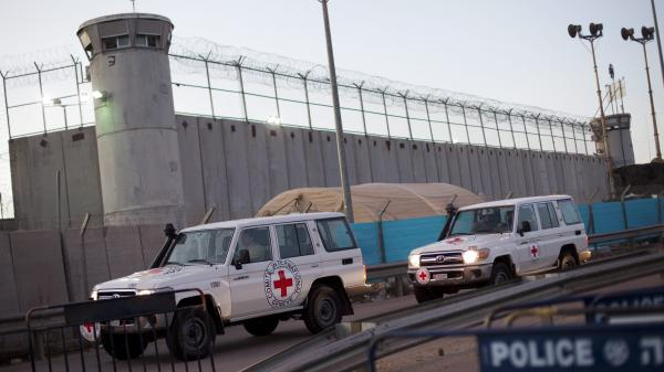 Red Cross vehicles outside Israel's Ofer prison, between Jerusalem and Ramallah.