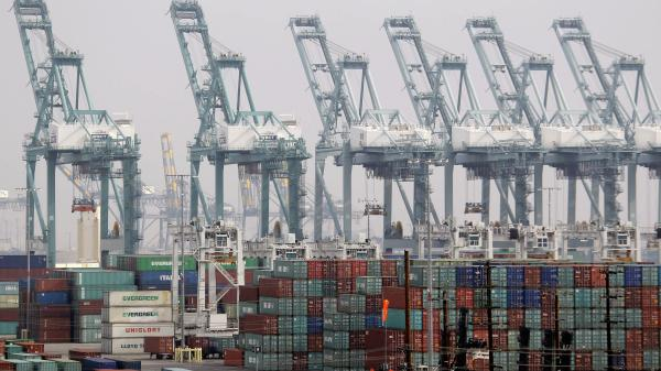 Shipping containers stack up at the Port of Los Angeles.