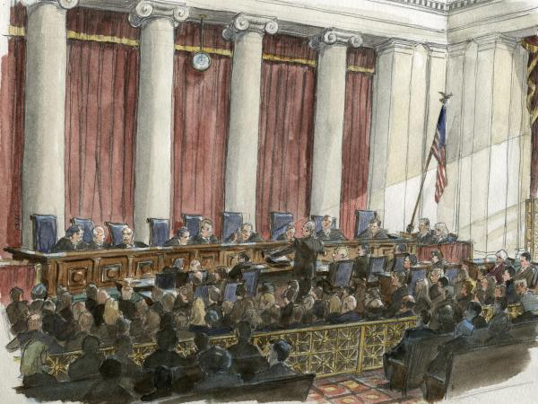 An artist's sketch of the scene during a U.S. Supreme Court hearing earlier this year.