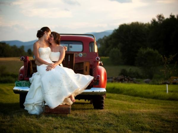 A rustic-themed wedding for two brides in Vermont.
