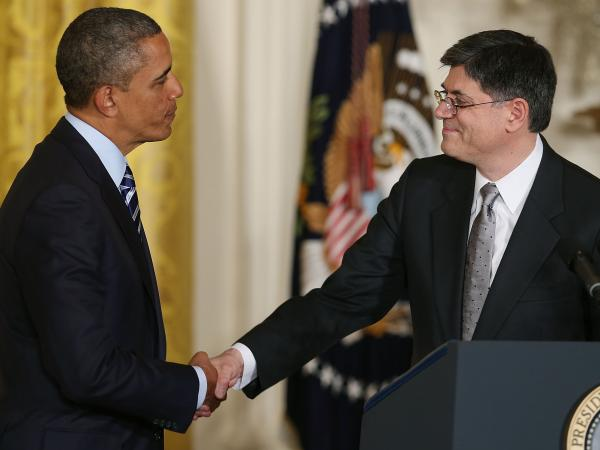 President Obama shakes hands with Jacob Lew after nominating him for Treasury secretary in January.