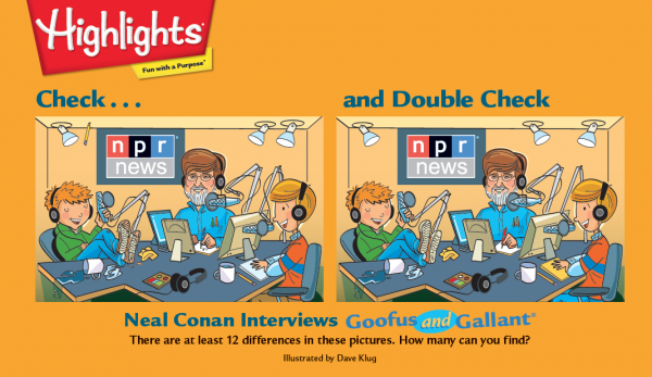 "<em>Highlights</em> magazine saluted <em>Talk of the Nation </em>with this ""Check... and Double Check"" game featuring Neal Conan."