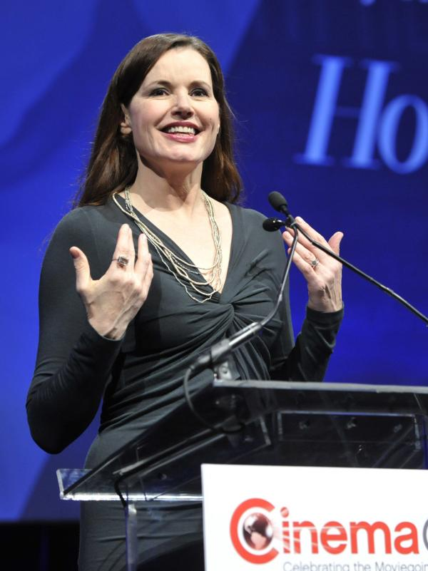 "Actress Geena Davis addresses the audience at the ""Driving Financial Success: Women + Movies = Bigger Box Office"" luncheon at CinemaCon 2013."