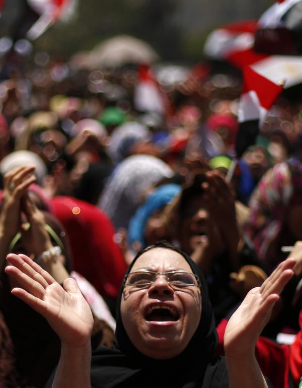 An anti-Morsi protester demonstrates in Tahrir Square on Thursday.
