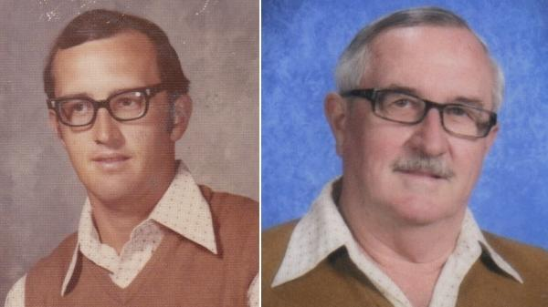 Dale Irby in 1973 (left) when his streak began, and in 2012, when the last of his 40 wonderful school photos was taken.