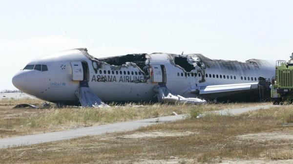 Asiana Flight 214, a Boeing 777 aircraft, after Saturday's crash at San Francisco International Airport.