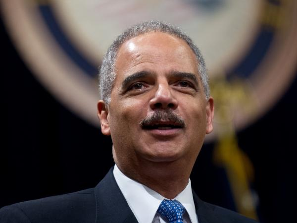Attorney General Eric Holder speaking at the Justice Department last month.