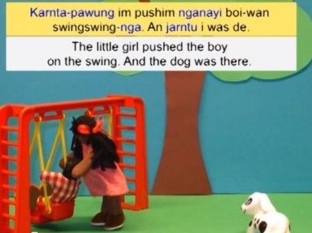 "A screen image from a video that professor Carmel O'Shannessy has created. In it, a girl tells a story in ""Light Warlpiri,"" the language O'Shannessy reports she discovered in Australia."