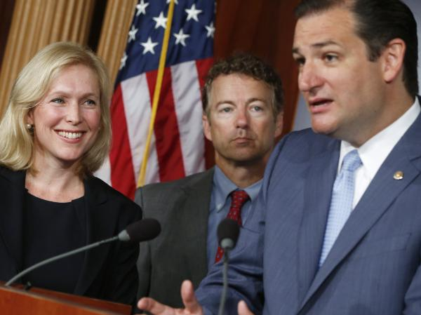 Sen. Kirsten Gillibrand, a New York Democrat, at a news conference Tuesday with Republican Sens. Ted Cruz of Texas (right) and Rand Paul of Kentucky. Paul and Cruz have endorsed Gillibrand's bill regarding sexual assault in the military.
